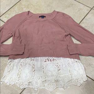 American Eagle Lace Hem Sweater S